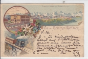 Brienzer-Rothhorn - Panorama-Ansicht, Hotel Rothhorn-Kulm, Mühlebach-Viaduct - Litho