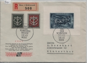 1945 Spende-Block Don - W21/Bl. 11 W19-W20/443-444 Charge nach Winterthur echt gelaufen